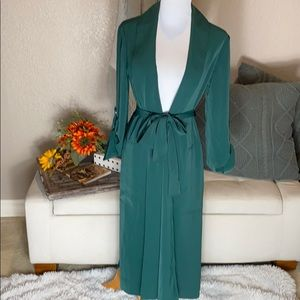 NWT INC emerald belted draped trench coat XS